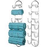 mDesign Juego de 2 Toallero de baño para montaje en pared – Estantes para toallas de metal – Elegante accesorio para el baño – Repisa para toallas ideal para el baño de invitados – plateado