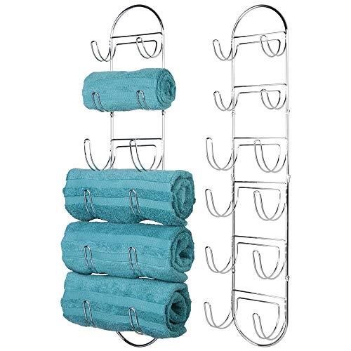 mDesign porte serviette mural – porte serviette en métal chromé – accessoire de salle de bain chic – aussi adapté pour les WC invités – argenté - Paquet de 2