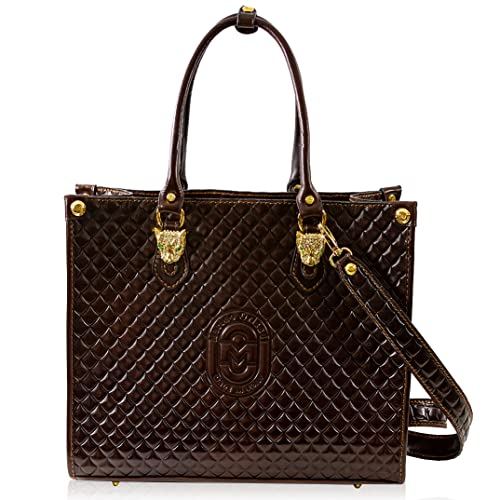 Marino Orlandi Women's Extra Large Purse Carryall Bag Italian Designer Chocolate Brown Genuine Leather Tote in Quilted Design with Swarovski Leopard Heads