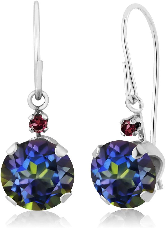 1.65 Ct Round bluee Mystic Topaz Red Rhodolite Garnet 14K White gold Earrings