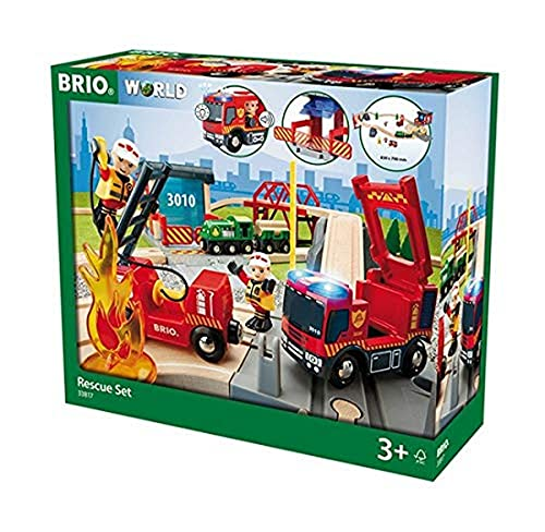 Preisvergleich Produktbild BRIO World 33817 - Bahn Großes Feuerwehr Deluxe Set