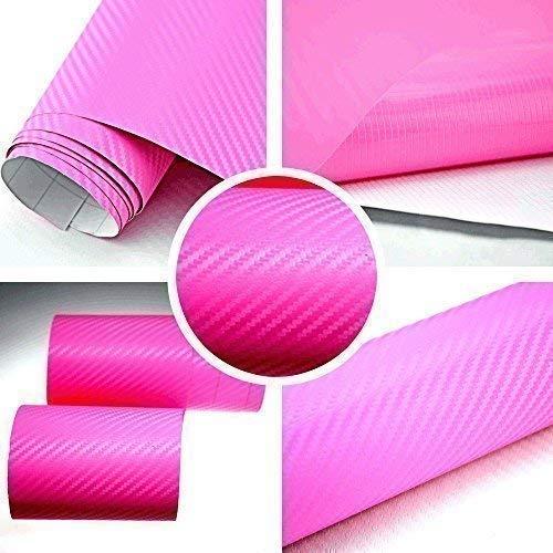 TipTopCarbon 6,58€/m² 3D Carbon Folie pink BLASENFREI 0,5m x 1,52m mit Luftkanäle Autofolie selbstklebend
