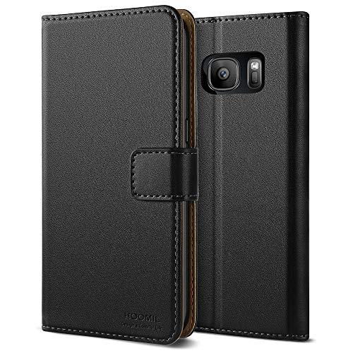 HOOMIL Galaxy S7 Hülle, Premium Handy Schutzhülle für Samsung Galaxy S7 Hülle Leder Wallet Tasche Flip Brieftasche Etui Schale, Schwarz (H3011)