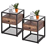 VECELO Modern Night Stands, End Side Table, Cabinet with Drawer and Rustic Shelf Decoration in Living Room,Bedroom,Lounge,Set of 2, Nightstand with Glass Surface, Brown