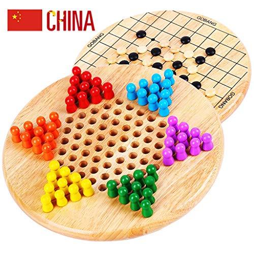 JINLIU 2 in 1 Dama Cinese E Gobang (Five in a Row) Gioco da Tavolo in Legno, 9,3 X 0,7 Pollici per Viaggi in Famiglia Giochi All'aperto