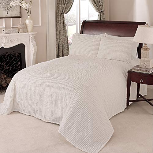 Beatrice Home Fashions Channel Chenille Bedspread, Queen, Ivory
