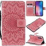 KKEIKO Hülle für Xiaomi MI 9 SE, PU Leder Brieftasche Schutzhülle Klapphülle, Sun Blumen Design Stoßfest Handyhülle für Xiaomi MI 9 SE - Rosa