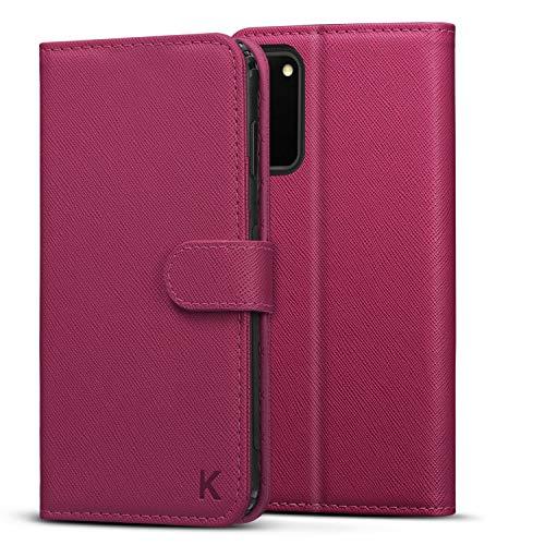 KILINO Samsung Galaxy S20 / S20 5G Wallet Case [Saffiano Leather] [RFID Blocking] [Shock-Absorbent Bumper] [Card Slots] [Kickstand] [Soft TPU] [Magnetic Closure] Flip Folio Cover (Magenta)