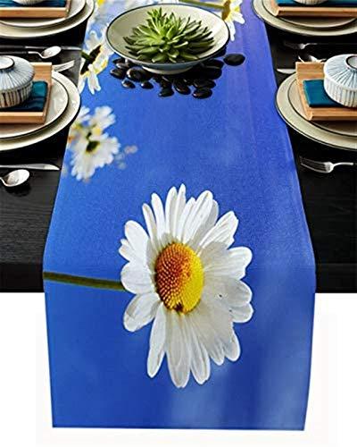 Camino de mesa de cocina,flor de manzanilla de primavera,blanco fresco,floral debajo del cielo azul,paisaje natural de arpillera para cenas,decoración de cocina,divertido,33x177cm