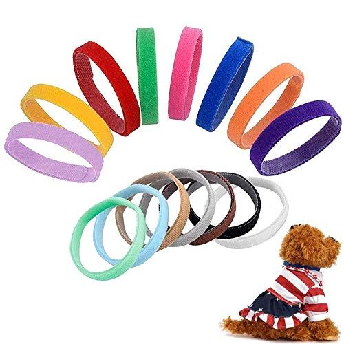 Voarge 15 Stück Welpenhalsbänder für züchter, Einstellbar welpenhalsband, Halsband Welpe Verwendet für Neugeborene Haustiere Hündchen Identification Hundemarken,Mehrfarbiges Nylon Welpenhalsbänder