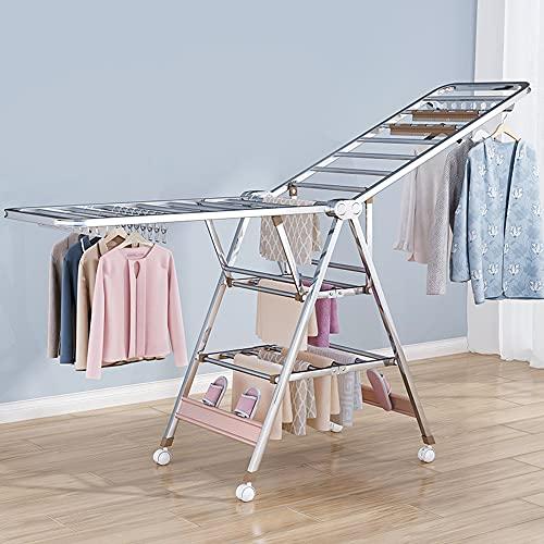 WANGTX Rejilla de secado, tendedero, rejillas de secado para interiores y exteriores, postes de ropa plegables para el hogar, secado de tres capas, con ruedas móviles/Silver / 1.7m