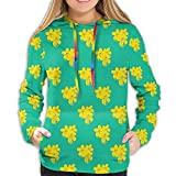 Women's Hoodies Tops,Shower Flower Pattern Blossoming Thailand Nature Summer Plants,Lady Fashion Casual Sweatshirt,L
