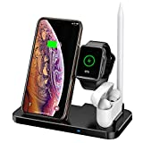 Cargador inalámbrico 4 en 1, compatible Apple Watch & AirPods & Pencil, Qi Rápido Cargador Wireless Compatible iPhone 11/11 Pro/11 Pro Max/Xs MAX/XR/XS/X/8/8Plus