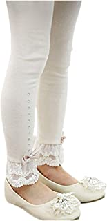 EachEver Kids Girls Cotton Spring Fall Leggings Pants with Bowknot Lace Trim Rhinestone 3-11 Years