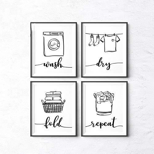 wymhzp Arte de la Pared Impresiones de la Lona Pintura Lavar en seco Pliegue Repetir Cartel de lavandería Cartel e Imprimir Cuadros de la Pared para el baño Decoración de la Pared 40x50cmx4 Sin Marco