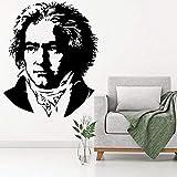 hetingyue Extraíble Piano música Pianista Compositor Busto Etiqueta de la Pared Deco Art Vinilo Pegatina hogar Dormitorio Sala de Estar Pegatinas