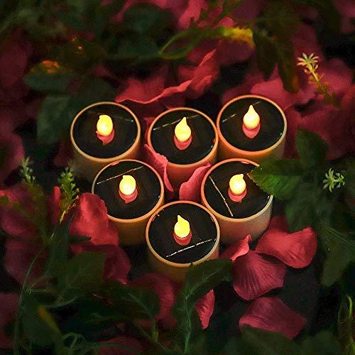 Nfudishpu 6 PCS LED Solar Kerzenlicht Flammenlose Kerzen Außen LED Teelichter für Party Hochzeit Dekoratin