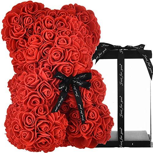 Ours en Rose Fleur Ours Rose Ours Nounours en Rose eternel Rose éternelle Artificielle Rose Fleurs, Cadeau pour Maman Femmes Cadeaux Filles Anniversaire Saint Valentin - Ours Rose avec boîte (Rouge)