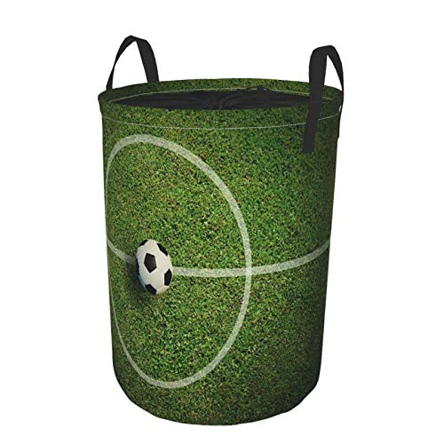 MEJX Collapsible Large Clothes Hamper for Household,Soccer Football Field Stadium Grass Line Ball Texture Light Shadow On The Grass,Storage Bin Laundry Basket Waterproof with Drawstring,16.5' x 21.6'