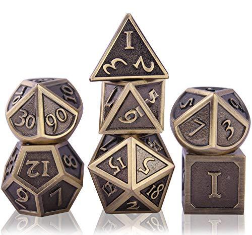 Schleuder Juego de Dados de rol Dice Set, DND Dados de Metal RPG D&D Poliédricos para Dragones y Mazmorras, Juegos de Mesa y Juegos de rol (Antique Bronze)