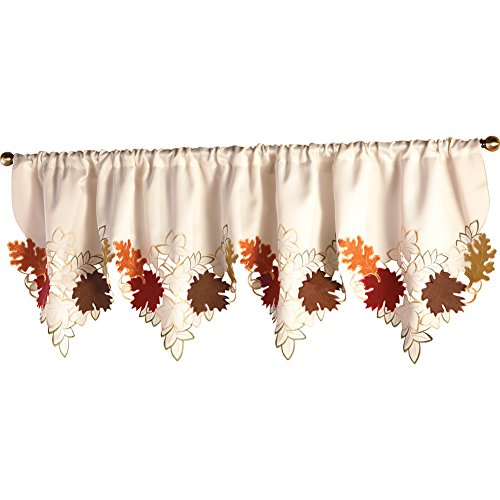 """Collections Etc Decorative Leaf Fall Window Valance, Rod Pocket Top, 67"""" W"""