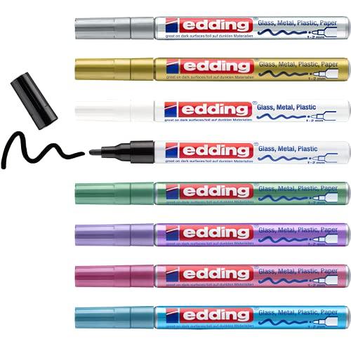 edding 751 Glanzlackmarker Set - schwarz weiß gold silber blau grün violett pink (metallic) - 8 Stifte - Rundspitze 1-2mm - Lackstift für Glas Stein Holz Kunststoff Papier - wasserfest, stark deckend