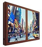 CCRETROILUMINADOS Nueva York Cuadros Decorativos Ventanas Falsas con Luz, Metacrilato, Nogal, 100 X 80 X 6.5