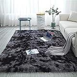 Glitzfas - Alfombra Shaggy de pelo largo para salón, camino para dormitorio, comedor, pasillo y habitación de los niños, color gris oscuro, 60 x 120 cm