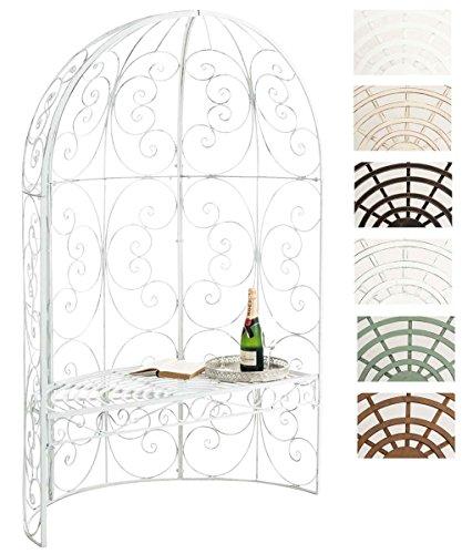 CLP Padiglione Giardino con Panca Rosie I Gazebo Padiglione in Ferro I Pergola A Semiluna Portata Max 200 kg, Colore:Antico Bianco