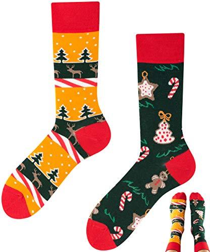 TODO COLOURS Weihnachten Socken motiv Weihnachtsbaum Rentier Lebkuchen Männer und Frauen (35-38, Weihnachten)