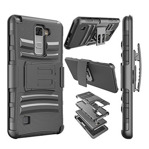 Njjex for LG Stylo 2 Case, for LG Stylo 2 Plus Case, [Ngate] Armor Shock Swivel Locking Holster Belt Clip Kickstand Heavy Defender Full Body Carrying Case Cover for LG Stylus 2 /Stylus 2 Plus [Black]