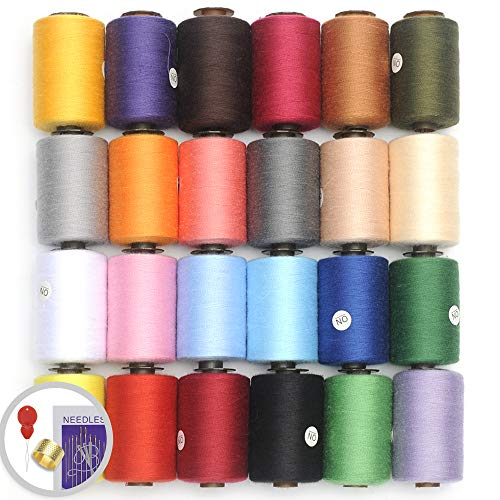 KEIMIX Polyester Sewing Threads 24 Colors 1000 Yards Each Spools Sewing kit for Hand & Machine Sewing