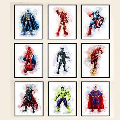 Superhéroes Acuarela Lámina Vengadores Marvel Hulk Batman Superman Capitán América Regalos De Cumpleaños Imágenes De Pared Para Niños Habitación 50