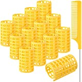 12 Pieces Snap on Hair Roller, Large Size Plastic Hair Rollers Hair Curlers with Steel Pintail Comb Rat Tail Comb for Short Hair Long Hair Hairdressing Styling Tools (6.8 x 3.6 cm, Yellow)