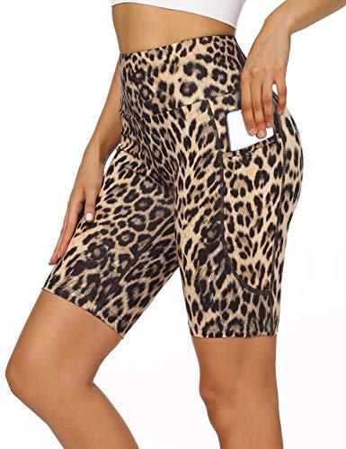 MOVE BEYOND 8'' Yoga-Shorts für Damen mit 2 Taschen Hohe Taille Bauchkontrolle Blickdicht Yogahose Sporthose, Leopard, M