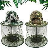 BESTZY 2 Pezzi Camouflage Apicoltura Apicoltore Anti-zanzara Ape Bug Insetto Fly Mask Cap Hat con Testa Net Mesh Protezione Facciale per Pesca all'aperto Caccia Camping