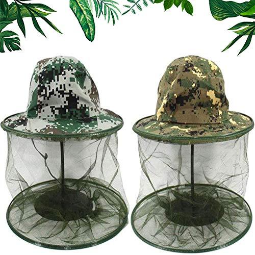 Moskito Kopfnetz Mesh, BESTZY Face Mesh Mask Cover, Moskito Kappe Imkerhut Kopfnetz Anti Moskito Maske Kopfschutz Nackenschutz NetzHut(2er Pack)
