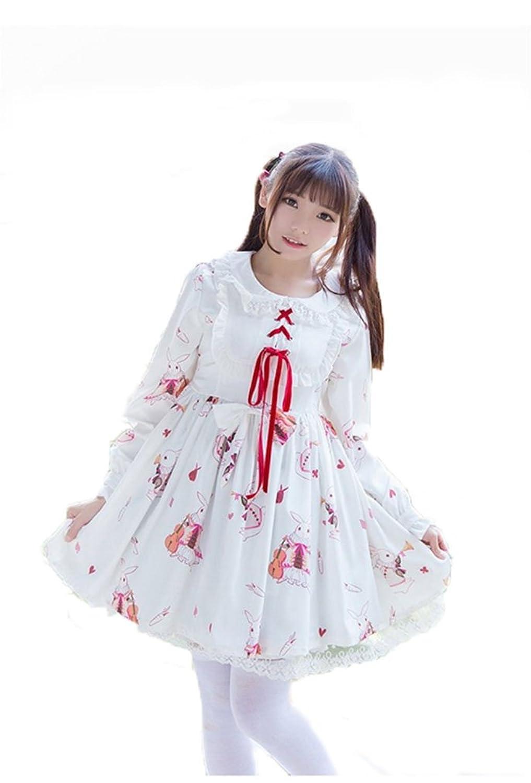 Asia Color ロリータ ワンピース 長袖 うさぎ ラビット 図案 可愛い ドレス 洋服ロリータショートワンピース (L, ホワイト)