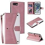 EYZUTAK Empalme de cuero de la PU para el iPhone 7 Plus iPhone 8 Plus, Retro Full Protection Premium Flip Cover Wallet Case con cierre magnético Kickstand ranuras para tarjetas - oro rosa
