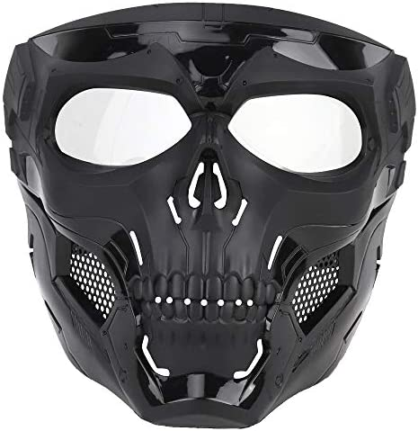 NINAT Airsoft Masks Full Face Skull Tactical Black Mask with Clear PC Lens Eye Protection for product image