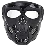NINAT Airsoft Skull Mask Full Face Tactical Black Masks with Clear PC Lens Eye Protection for Halloween CS Survival Games Shooting Cosplay Movie Paintball Scary Masks