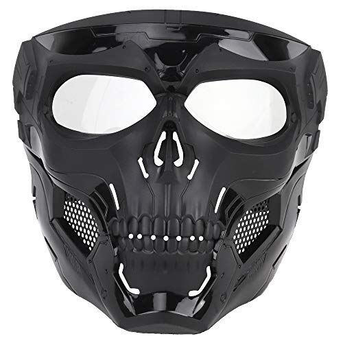 NINAT Airsoft Masks Full Face Skull Tactical Black Mask with Clear PC Lens Eye Protection for CS Survival Games BBS Gun Shooting Halloween Cosplay Movie Props Scary Masks