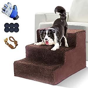 LeadHom Dog Stairs, 3-Step Plastic Pet Steps, Non-Slip Dog Stairs,Dog Ramp, Suitable for Cats& Dogs Climbing High Bed and Couch, Machine Washable-Holds Up to 50 LBS