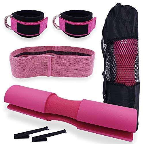 GYFHMY 7 Pcs Barbell Pad Set for Squats, Hip, Thrusts - Include Upgraded Bar Neck Form Pads with Carry Bag, 2 Gym Ankle Straps, 120lb Hip Resistance Loop Band, Pink