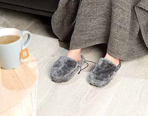 Infactory Fussheizung: Deluxe-Plüsch-Pantoffeln - 3