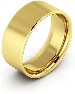 14K Yellow Gold men's and women's plain wedding bands 8mm flat comfort-fit