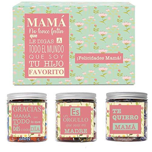 SMARTY BOX Caja Regalo Chuches Día de la Madre Original Caramelos y Gominolas para la Mejor Mamá del Mundo con Frases Cumpleaños Cesta Dulces Golosinas sin Gluten, Fabricado en España (Hijo)