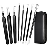 Kit Extracteur Point Noir 8 ELLESYE, Pince Points Noirs, Kit Tire Comédons Acné 8 en 1 kit Éliminateur de comédons, Blackhead Remover Kit, Professional Blackhead Remover, Kit Point Noir