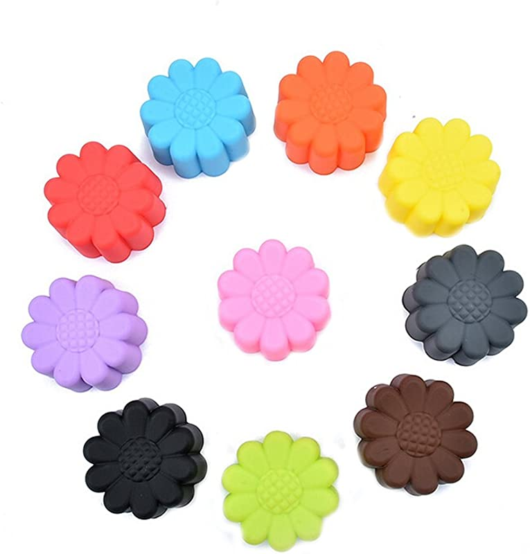 Ewandastore 20pcs 2 0inch Silicone Sun Flower Muffin Cookie Cup Cake Egg Tart Cup Baking Mold Chocolate Pudding Jelly Soap Maker Mold