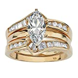18K Yellow Gold over Sterling Silver Marquise Cut Cubic Zirconia 2 Piece Jacket Bridal Ring Set Size 7